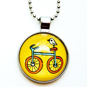 Yellow Bike Necklace - Bicycle Bird Necklace
