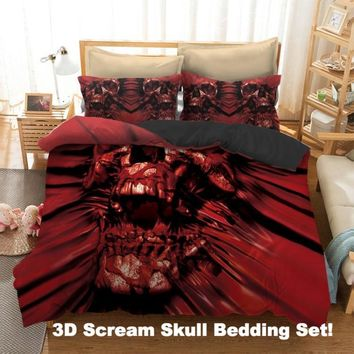 3D Scream Skull Bedding Set