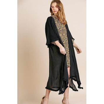 Women's Bell Sleeve Kimono with Frayed Hemline