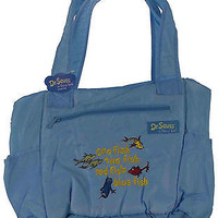 Dr. Seuss One Fish Two Fish Baby Diaper Bag Blue Trend Lab Tote Changing Pad NEW