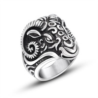 Gift Stylish New Arrival Shiny Jewelry Vintage Punk Strong Character Titanium Ring [6544884483]