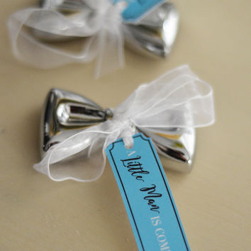 "Baby Boy Bridal Shower Favor Bow Tie Bottle Opener with ""A Little Man is coming"" Tag, White Ribbon"