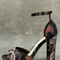 Avignon Black Embroidered Ankle Strap Heels