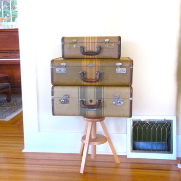 tweed striped suitcase train case wedding card holder stacking stackable old luggage / old suitcase / 1940s suitcases photo prop