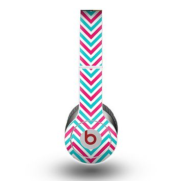 The Blue & Pink Sharp Chevron Pattern Skin for the Beats by Dre Original Solo-Solo HD Headphones