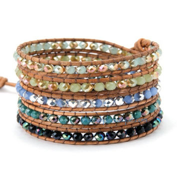 Mixed Iridescent Crystal Beaded Handmade Leather Wrap Bracelet