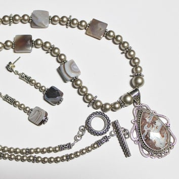 Laguna Jasper and Sterling Decorative Pendant with Botswana Agate and Swarovski Crystal Pearls