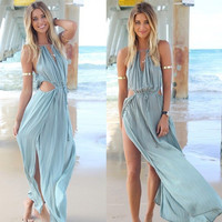 Women's Fashion Summer Spaghetti Strap Dress Sexy Chiffon Maxi Dress [11241427599]