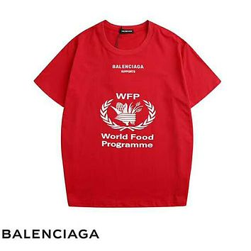 Balenciaga New fashion letter leaf print and back letter print top t-shirt Red