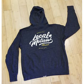 "Local Motion ""Quality Goods"" Mens Zip Up Charcoal Hoodie"