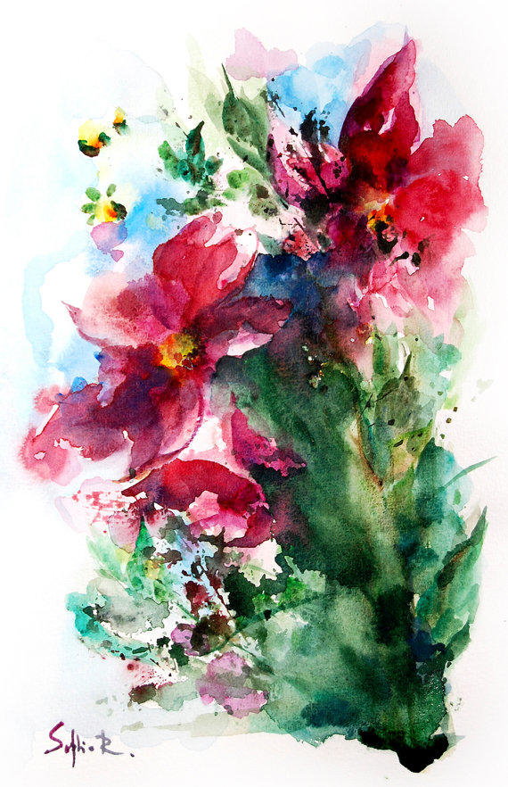 Abstract Flowers Watercolor Painting Art from ...