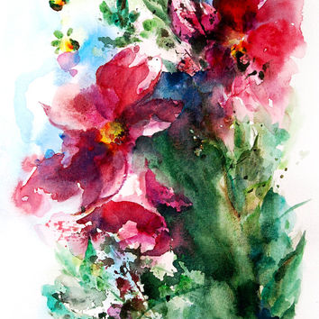 Abstract Flowers Watercolor Painting Art Print, Floral Watercolour Painting Art, Pink Green, Modern Abstract Art