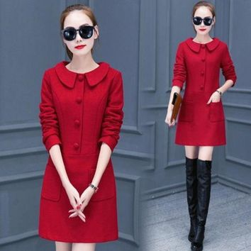 PEAPGB2 Ladies Thickening Temperament Winter Dress 2016 New Fashion Women Long Sleeve Casual Woolen Dresses Plus Size Female