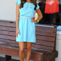 Brigitte Bardot Dress: Sky Blue/White | Hope's