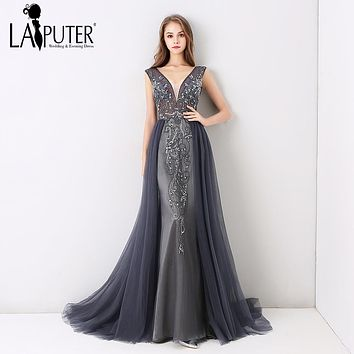 Laiputer New Arrival 2018 V-neck Luxury Beading Pearls Dusty Grey Crystal Vintage Backless Cheap Long Formal Evening Prom Dress