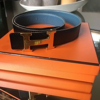 HERMES Constance belt buckle & Reversible leather strap 80