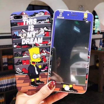 For iPhone 6 6S 7 8 X plus Simpson series high quality drop-proof phone case + film