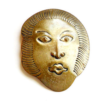 Vintage Metal Face Brooch - Unusual Weird - Odd Uncomfortable - Shocking Creepy - Embossed Metal - Broach Pin - Kabuki Mask