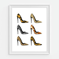 High Heel Shoe Art Print, Animal Print, Pumps, Fashion Art 5x7, 8x10, 11x14 Bedroom Decor, Fashion Wall Art, Girly Art