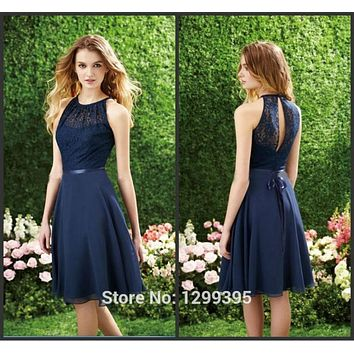 Summer Navy Blue Chiffon Short Open Back Lace Prom Dresses Ballkleider Vestidos de Novia New Fashion Robe Bal
