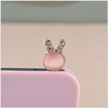Crystal Rhinestones cute Rabbit ear dust plug luxury phone accessories fashion phone plug for cell phone Charms