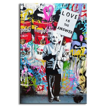 "1 PCS Banksy Art ""Love Is The Answer"" Wall Art Large Colorful Graffiti Street Artwork A Man Holding a Sign Canvas Print Painting"