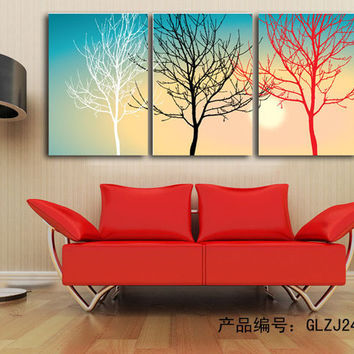 3 Pieces Wall Art Sets handmade Modern Abstract Still Life Black White Red Tree Canvas Painting Oil Artwork Home Decor pictures