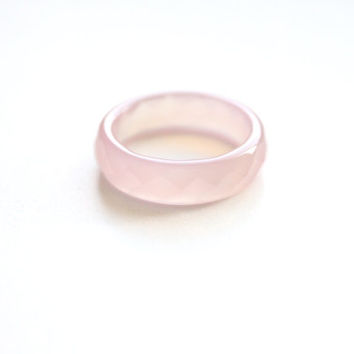 Natural Light Pink Agate Band Ring 5mm. Stackable Gemstone Ring. Faceted Agate Ring. Natural Healing Agate Ring.