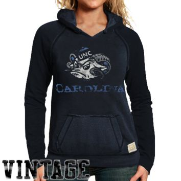 Original Retro Brand North Carolina Tar Heels :UNC: Ladies Two-Toned V-Neck Hooded Sweatshirt - Navy Blue