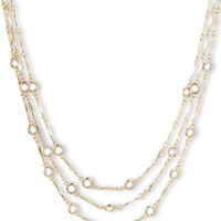 Anne Klein Three-Row Gold-Tone & Crystal Necklace
