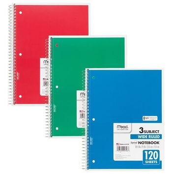 NOTEBOOK SPIRAL 3 SUBJECT 120 CT