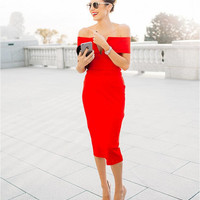Red Slash Collar V-Neck Midi Dress