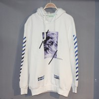 OFF-WHITE Autumn new wave stripe print casual wild hooded sweater white