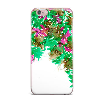 "Ebi Emporium ""Floral Cascade 6"" Pink Green iPhone Case"