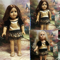 "18 inch doll clothes ""Golden Jaguar"" doll outfit made to fit American Girl® OOAK 3 piece ensemble animal print lace velvet velour R1"
