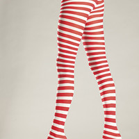 Be Wicked Red and White Striped Tights