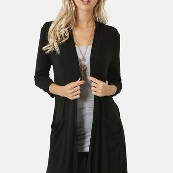 Women's Black Cardigan With Pockets Long Duster:  S/M/L/XL