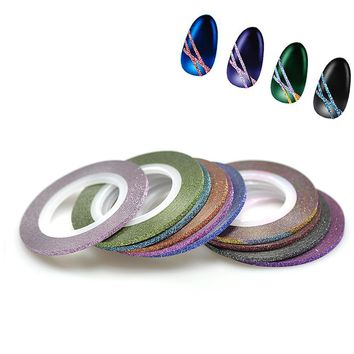 2mm 12 Rolls/Lot Color Mixed Gold Silver Glitter Nail Art Striping Sticker Tape Line DIY Tips Guide 3D Tips Tools NC393