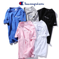 Champion Loose Letter Embroidered Short-Sleeve T-Shirt