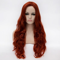 New Fashion 70cm Long Heat Resistant Red Brown Synthetic Hair Little Mermaid Ariel Cosplay Wig Party Wigs