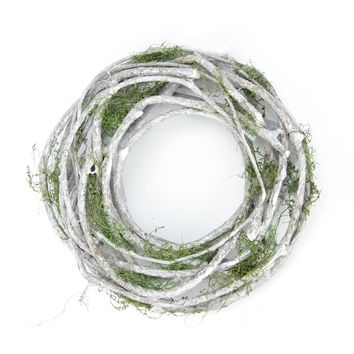 """8"""" White Twig and Green Moss Artificial Spring Wreath"""