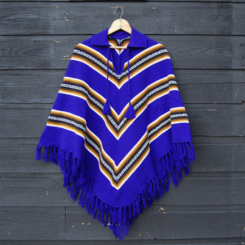 Vintage Mexican Poncho, 70's Purple Knit Poncho, Hippie Boho Festival Top, Southwestern Native Fringed Poncho Shawl Cape with pom pom