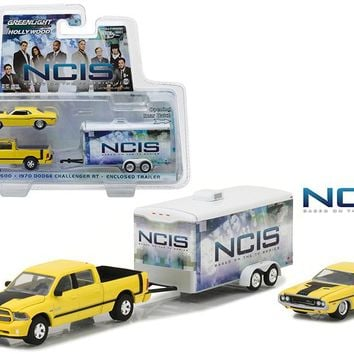 "2015 Dodge Ram 1500 Pickup Yellow with 1970 Dodge Challenger R/T Yellow with Enclosed Car Trailer which has Opening Rear Hatch \NCIS"" (2003 Current TV Series) Hollywood Hitch and Tow Series 4 1/64 Diecast Model by Greenlight"""