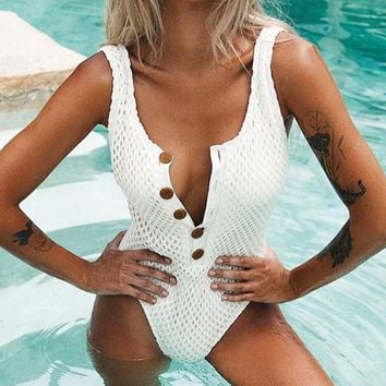 Summer New Fashion Solid Color Vest One Piece Bikini Swimsuit White