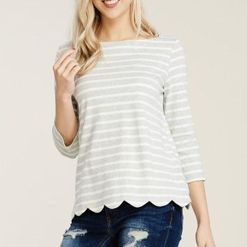 Grey Scalloped 3/4 Sleeve Striped Top