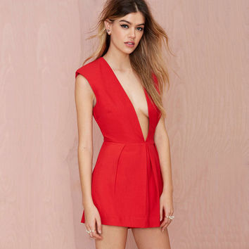 Red Deep V-neck Sleeveless Romper
