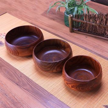Creative Wooden Bowl Salad Ramen Soup Tableware Bowls Kids Food Container Instant Noodles For Kitchen Rice Tigelas Handmade