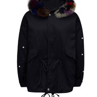 Black Beaded Embellished Faux Fur Trim Padded Jacket