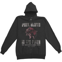 Pink Floyd Men's  In The Flesh Zippered Hooded Sweatshirt Black