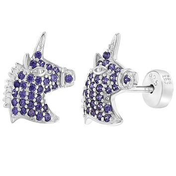 925 Sterling Silver CZ Magical Unicorn Safety Stud Earrings for Girls Children
